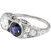 Art Deco Sapphire Ring Circa 1920's 2.43ct t.w. Double Old Cut Diamond Blueberry Blue Natural Sapphire Filigree Engagement Ring Platinum