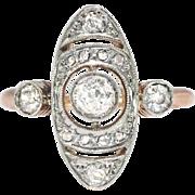 Antique Rose Gold Diamond Ring Art Nouveau 1900's .63ct t.w. Navette Cocktail Unique Engagement Ring 18k Platinum