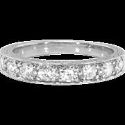 Antique Diamond Filigree Engraved Wedding Band Circa 1920's 8 Stone Single Cut Bead Set Pave' Stacking Ring Platinum