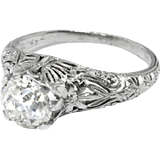 Edwardian Engagement Ring Circa 1915 Antique Old European Cut Diamond Butterfly Floral Filigree Wedding Anniversary Solitaire Ring Platinum