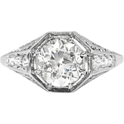 Art Deco Engagement Ring 1.14ct t.w. Circa 1930's Old European Cut Diamond Filigree Engagement Anniversary Wedding Ring Platinum