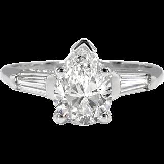 Vintage Pear Diamond Engagement Ring Baguette Diamonds Three Stone Engagement Anniversary Ring Platinum