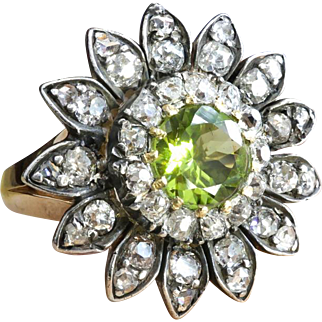 Antique Art Nouveau Peridot Old Mine Cut Diamond Ring Circa 1900's Birthstone Unique Statement Ring 14k Yellow Gold Sterling Silver