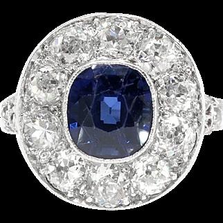 Antique Sapphire Diamond Ring Circa 1915 Filigree Old European Cut Halo Cocktail Birthstone Anniversary Engagement Ring Platinum