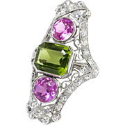 Huge Vintage 1920's 7.21ct t.w. Art Deco Pink Topaz Peridot Diamond Navette Cocktail Birthstone Ring Platinum