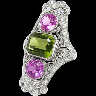 Huge Vintage 1920's 7.21ct t.w. Edwardian Pink Topaz Peridot Diamond Navette Cocktail Birthstone Ring Platinum