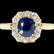 Antique Victorian Sapphire Ring Circa 1880's Natural Violet Blue Cushion Sapphire Old European Cut Diamond Halo Ring 14k Gold