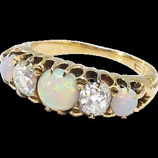 Antique Opal Diamond Ring Circa 1890's Victorian 5 Stone Opal Old Mine Cut Diamond Ring 18k Yellow Gold