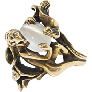Vintage Fairy Pixie Cat's Eye Moonstone Circa 1950's Devil Figural Forest Ring 14k Plumb Yellow Gold