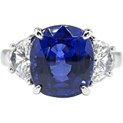 Vintage Sapphire Diamond Ring 6.61ct t.w. Estate Blue Sapphire & Half Moon Diamond Platinum Three Stone Engagement Anniversary Ring