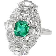 Art Deco Emerald Cut Emerald Diamond Ring Circa 1930's Vintage 1.52ct t.w. Anniversary Birthstone Multistone Ring Platinum