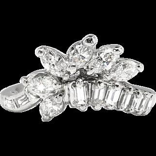 Vintage Retro 1950's Old Transitional Cut Mixed Cut Diamond Engagement Wedding Anniversary Wrap Band Platinum Ring