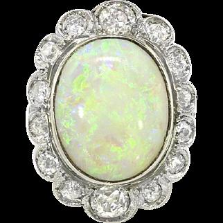 Antique Opal Diamond Ring Circa 1915 Natural Australian Opal & Old Mine European Cut Diamond Filigree Ring 18k White Gold