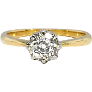 Antique Art Nouveau 1900's .73ct Old Mine Cut Diamond Solitaire Engagement Anniversary Ring 18k Yellow Gold Platinum