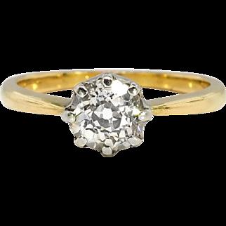 Antique Art Nouveau 1900's .73ct Old Mine Cut Diamond Solitaire Engagement Anniversary Ring 18k Yellow Gold Platinum