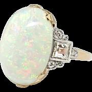 Vintage Opal Diamond Ring Circa 1970's Australian Crystal Opal Asscher Cut Diamond Cocktail Birthstone Ring 14k Gold Palladium