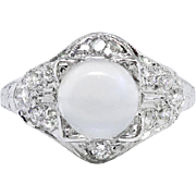 Vintage Moonstone Diamond Ring 3.24ct t.w. Circa 1930's Art Deco Hand Engraved Filigree Platinum