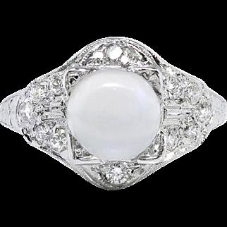Vintage Moonstone Diamond Ring 3.24ct t.w. Circa 1930's Art Deco Hand Engraved Filigree Platinum