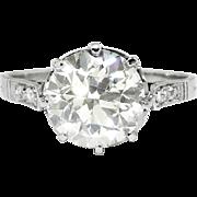 Edwardian Engagement Ring 2.31ct t.w. 1915 Antique Old European Cut Diamond Filigree Wedding Anniversary Solitaire Ring Platinum