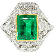 Antique Emerald Diamond Ring Circa 1915 2.84ct t.w. Natural Emerald & Old European Cut Diamond Filigree Anniversary Engagement Birthstone Ring