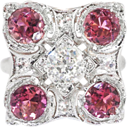 Vintage Retro 2.61ct t.w. 1940's Old European Cut Diamond Pink Tourmaline Anniversary Cocktail Ring Platinum