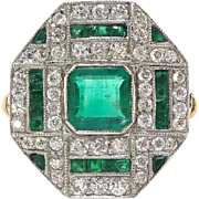 Art Deco Emerald Diamond Ring Circa 1930's 1.47ct t.w. Natural Green Emeralds & Diamonds Cocktail Anniversary Birthstone Ring 18k Platinum