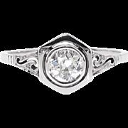 Art Deco Diamond Engagement Ring Circa 1920's .50ct Bezel Set Old European Cut Filigree Engagement Wedding Anniversary Ring 14k White Gold
