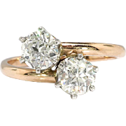 Vintage Toi Et Moi Double Diamond Ring .96ct t.w. Old European Cut Bypass Engagement Anniversary Ring 18k Rose Gold Platinum