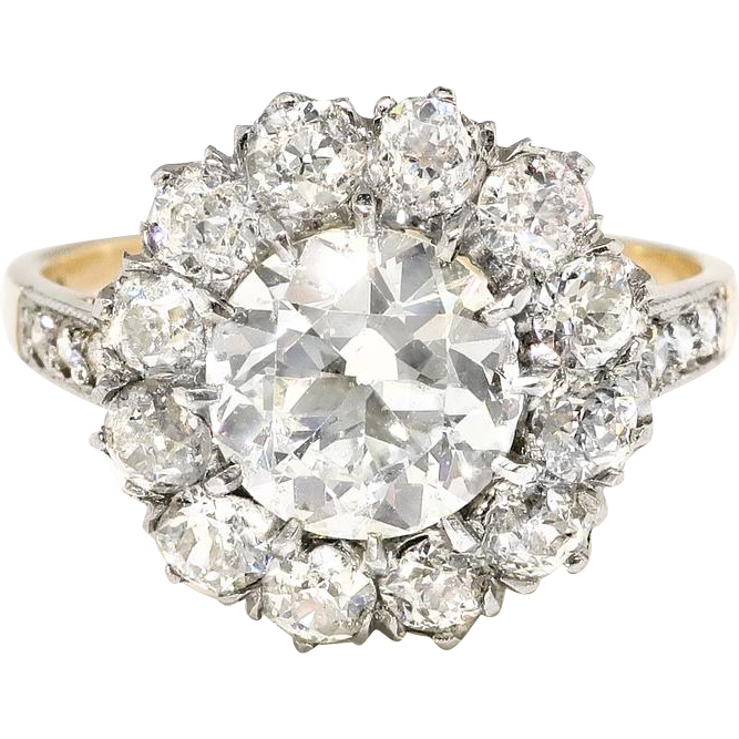 Art Deco Engagement Ring Circa 1930's 1.98ct t.w. Old European Cut Diamond Double Halo Ring 18k Gold Platinum