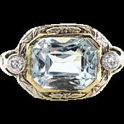 Art Deco Aquamarine Diamond Ring Circa 1930's Two Tone Filigree Engagement Birthstone Ring 14k Gold