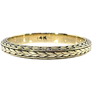 Rare Art Deco Wheat Eternity 14k Yellow Gold Band Size 7