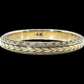 Rare Art Deco Wheat Eternity 14k Yellow Gold Band Size 7