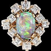 Vintage Opal Diamond Ring Circa 1970's 3.08ct t.w. Solid Opal & Diamond Halo Birthstone Anniversary Engagement Ring 18k Gold