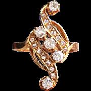 Antique Diamond Navette Ring Circa 1910 .73ct t.w. Old European Cut Rose Cut Diamond Cocktail Ring 18k Gold