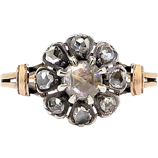Antique Rose Cut Diamond Ring Circa 1900's .52ct t.w. Wedding Anniversary Engagement Ring 18k Rose Gold Sterling Silver
