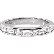 Estate .86ct t.w. Baguette Round Diamond Channel Set Estate Anniversary Wedding Band Ring Platinum