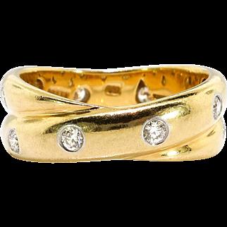 Estate Tiffany Etoile Eternity Band Circa 1990's Diamond Double Wedding Band Stacking Ring Size 6 18k Platinum