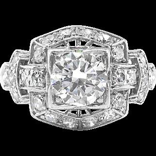 Art Deco Diamond Ring Circa 1930's 1.22ct t.w. Vintage Old Transitional Cut Diamond Engagement Wedding Anniversary Ring Platinum