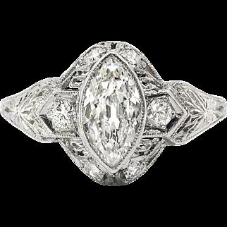 Vintage Art Deco 1930's Antique Cut Marquise Diamond Filigree Hand Engraved Engagement Anniversary Ring Platinum