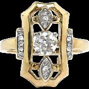 Art Deco Diamond Engagement Ring .40ct t.w. 1930's Old European Cut Diamond Wedding Anniversary Ring 14k White Yellow Gold