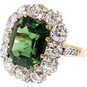 Gorgeous 7.95ct t.w. Emerald Cut Green Tourmaline & Old European Cut Diamond Halo Engagement Ring 18k Platinum