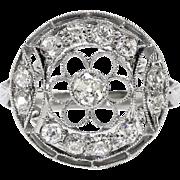 Art Deco .59 ct.tw. Diamond Filigree Floral Circle Ring Platinum