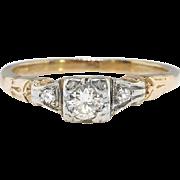 Petite Vintage Diamond Engagement Ring 14k Yellow & White Gold