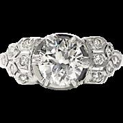 Art Deco 1.10 ct. tw. Diamond Engagement Ring Platinum