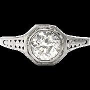 Art Deco .70ct Diamond Engagement Ring Filigree 18k