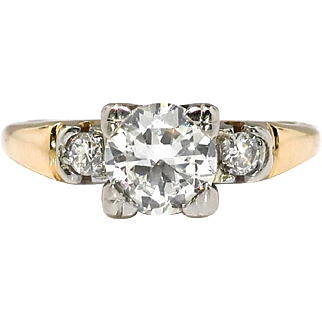Vintage Diamond Engagement Ring .72ctw. 18k Yellow and White Gold