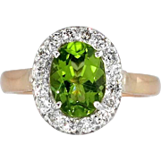 Vintage Peridot Diamond Ring Circa 1940's Retro Two Tone Halo Cocktail Birthstone Ring 18k Gold