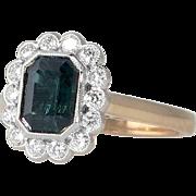 Vintage Emerald Cut Green Tourmaline Ring White Gold Diamond Halo Birthstone Cocktail Ring 14k Yellow Gold Shank