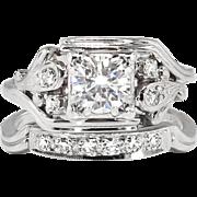 Vintage Retro 1940's .83ct t.w. Diamond Engagement Ring Bridal Wedding Set Band 14k White Gold