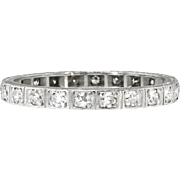 Vintage Art Deco 1930's Bead Set Diamond Hand Engraved Filigree Eternity Band Ring Platinum Size 5.75